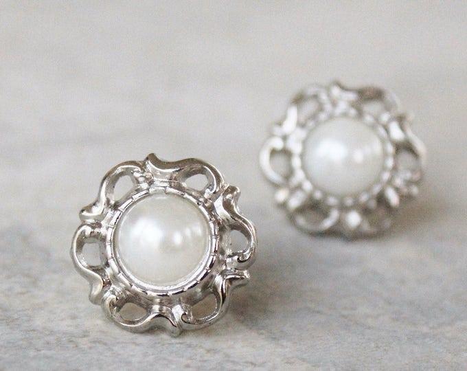 Pearl Costume Jewelry, White Pearl Bridesmaid Earrings Gift, Filigree Earrings, Victorian Pearl Studs, Pearl Wedding Jewelry Gift