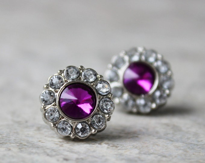 Amethyst Earrings, Studs, Violet Bridesmaid Earrings, Purple Wedding Jewelry, Crystal Bridesmaid Earrings