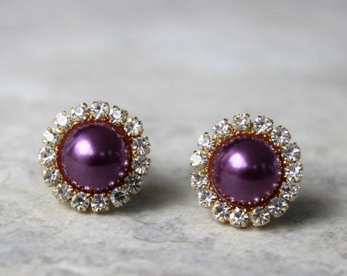 Purple Earrings, Eggplant Crystal Earrings, Aubergine Earrings, Purple Pearl Earrings, Purple and Gold Earrings, Wedding Jewelry
