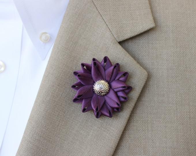 Mens Lapel Pin, Mens Flower Lapel Pin, Mens Wedding Boutonnieres, Purple Wedding Boutonniere, Amethyst, Silver, Lapel Pins for Men
