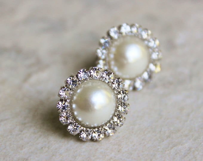 Pearl Earrings, Bridesmaid Earrings, Ivory Pearl Earrings, Wedding Jewelry, Studs, Earrings for Bridesmaids Gift, Silver, Gold, White