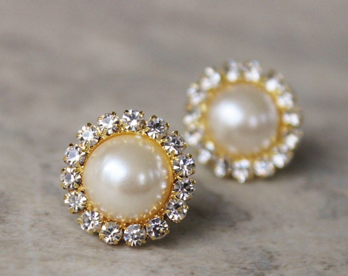 Gold and Pearl Earrings, Pearl and Gold Earrings, Ivory Pearl and Crystal Earrings, Gold Crystal Earrings, Ivory Pearl Earring Set