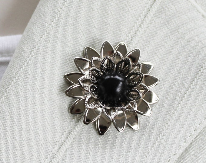Silver Magnetic Brooch Pin, Silver Flower Brooch, Magnetic Pin, Silver and Black Magnet Pin, Unique Gift for Woman, Lapel Flowers for Women