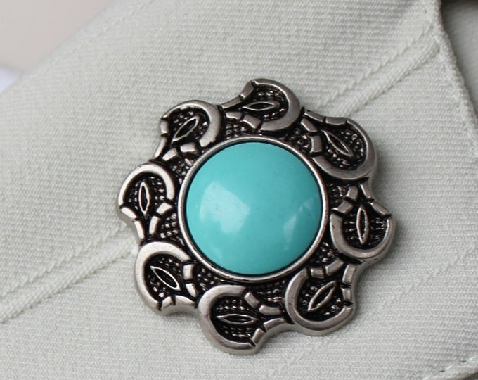Turquoise Brooch Pin, Turquoise Jewelry, Turquoise Hat Pin, Scarf Pin, Magnetic Pin Brooch, Pin for Sweater