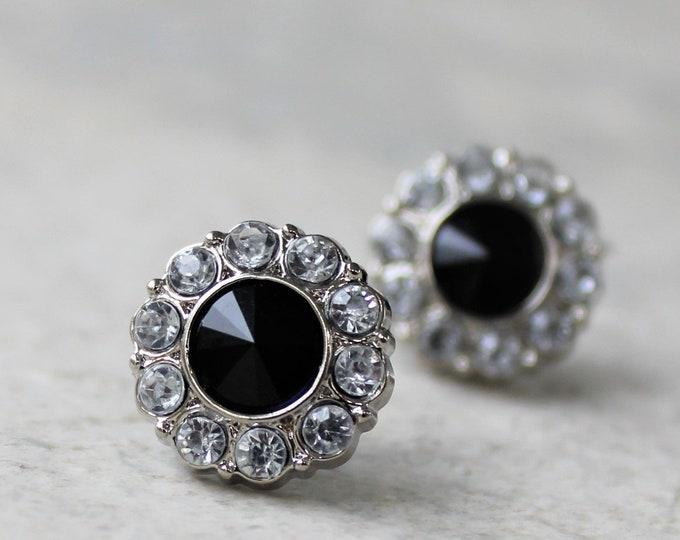 Small Black Earrings, Stud Earrings, Black Bridesmaid Earrings Gift, Black and Silver Earrings, Crystal, Rhinestone, Black Onyx Jewelry Gift