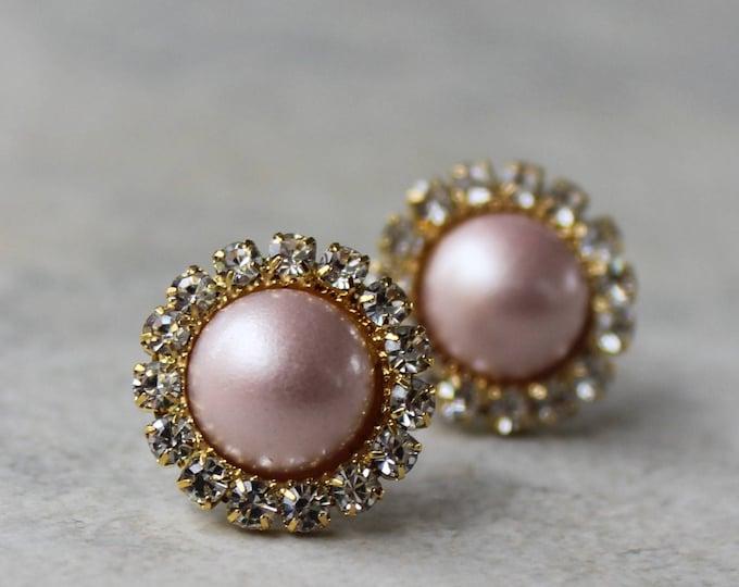 Blush Pink Pearl Bridesmaid Earrings