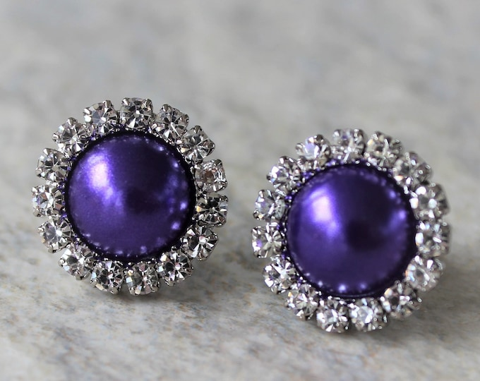 Royal Purple Pearl Bridesmaid Earrings