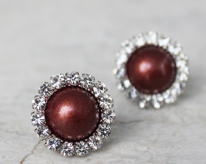 Burgundy Earrings, Bridesmaid Earrings, Burgundy Wedding Jewelry, Burgundy Pearl Earrings for Bridesmaids, Handmade Wedding Jewelry