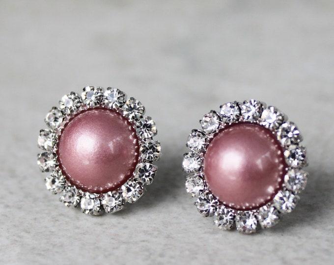 Dusty Rose Wedding Jewelry, Dusty Rose Earrings Gift for Bridesmaids, Dusty Rose Bridesmaid Jewelry, Pearl Earrings for Bridesmaids