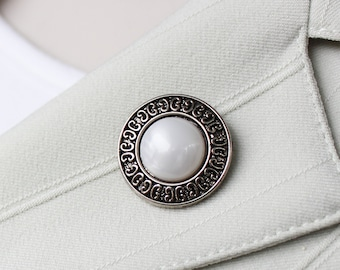 Lapel Pin for Women, Magnet Pin, Magnetic Brooch Pin, Unique Gift for Women. Coat Pin, Silver and White Pearl, Magnetic Scarf Pin