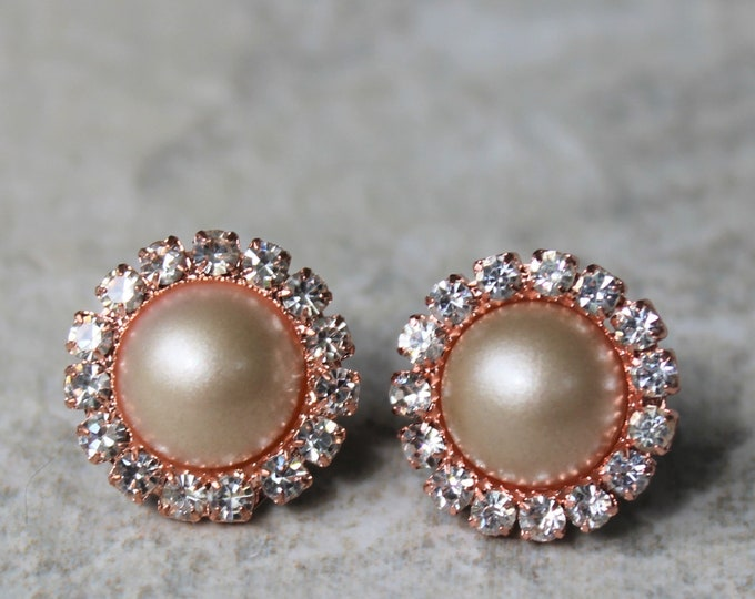 Rose Gold and Champagne Pearl Earrings