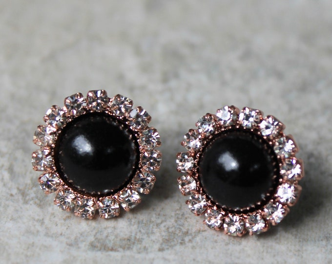 Rose Gold and Black Earrings, Rose Gold and Black Wedding Jewelry, Rose Gold and Pearl Bridesmaid Earrings, Gift for Bridesmaids