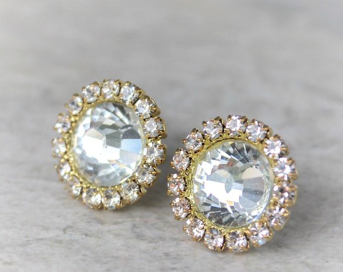Crystal Bridesmaid Earrings, Bridesmaid Jewelry, Crystal Earrings, Bridal Jewelry, Wedding Earrings, Studs, Gold