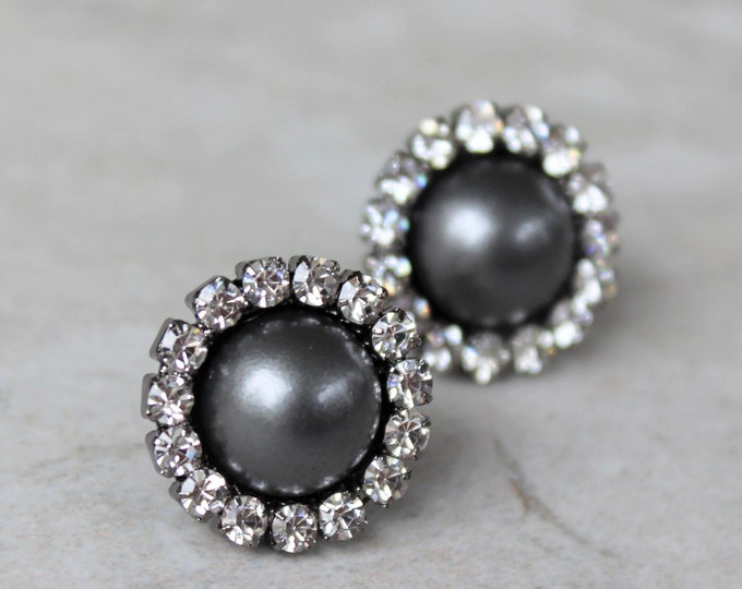 Dark Gray Earrings, Gray Bridesmaid Earrings, Gray Pearl Earrings, Bridesmaid Jewelry, Gray Wedding Jewelry, Charcoal Earrings, Gunmetal