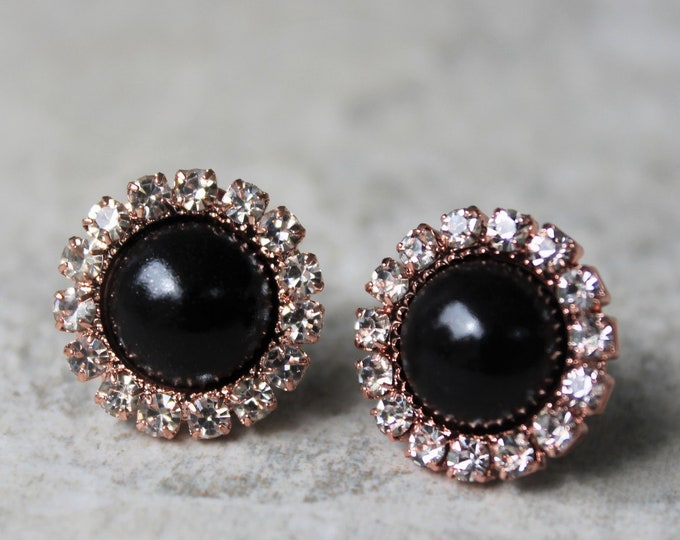 Rose Gold and Black Wedding Earrings