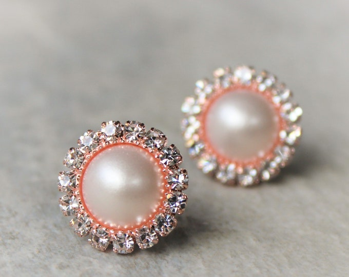 Rose Gold Pearl Earrings Wedding Jewelry
