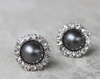 Gray Pearl Earrings, Gray Earrings, Dark Gray Earrings, Bridesmaid Earrings Gift, Bridesmaid Gift, Gray Wedding Jewelry, Dark Gray Pearls
