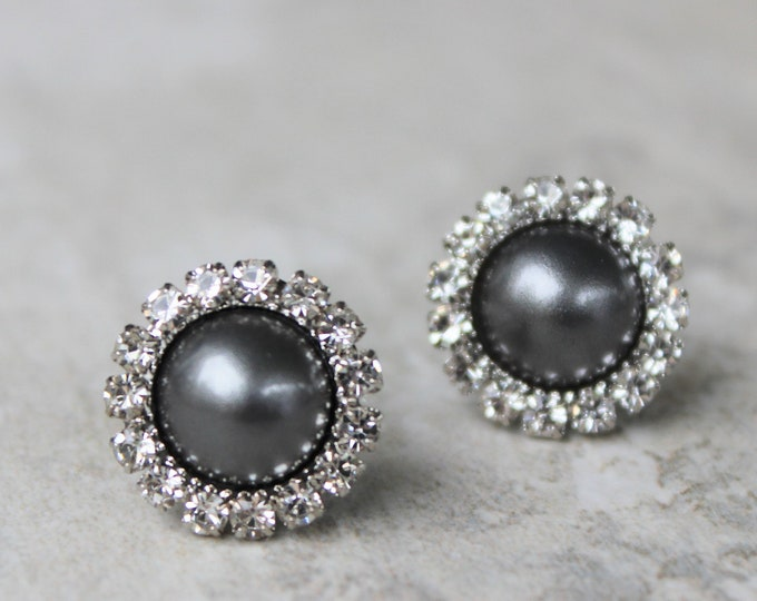 Gray Pearl Earrings, Gray Earrings, Dark Gray Earrings, Bridesmaid Earrings Gift, Bridesmaid Gift, Gray Wedding Jewelry, Dark Gray Pearls