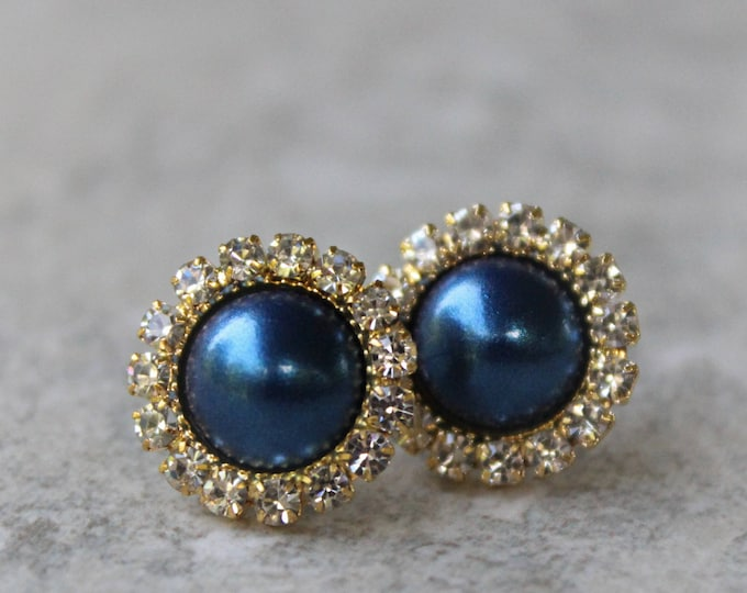 Navy Blue Pearl Earrings with Gold Setting