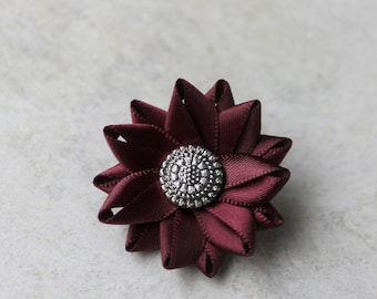 Mens Lapel Flower Pin, Burgundy Lapel Flower, Lapel Pin for Men, Mens Gift, Mens Stocking Stuffer, Suit and Tie Accessories, Mens Fashion
