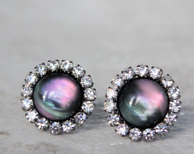 Purple and Teal Stud Earrings Gift