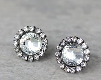 7d781b224 Crystal Gunmetal Earrings, Bridesmaid Gift, Bridesmaid Jewelry, Wedding  Earrings, Gunmetal Jewelry, Dark Silver Earrings