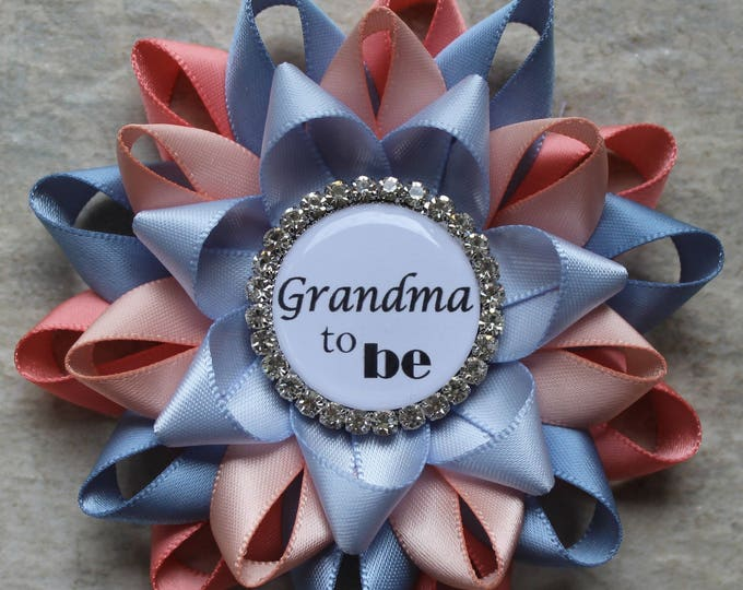 Pregnancy Reveal Party Decorations, New Grandma Gift, Mommy to Be Pin, Gender Neutral Baby Shower, Coral, French Blue, Peachy Pink, Ice Blue