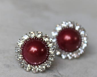 Wine Earrings, Wine Bridesmaid Earrings Gift, Wine Wedding Jewelry, Maroon, Burgundy, Pearl Earrings, Bridesmaid Jewelry Gift