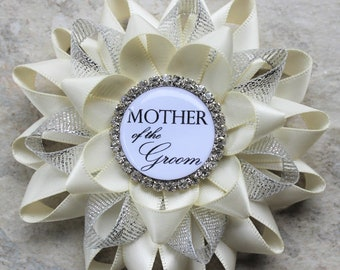 Bridal Shower Gift, Mother of the Groom Gift, Mother of the Bride, Grandmother of the Bride, Wedding Corsage Pins, Ivory and Silver