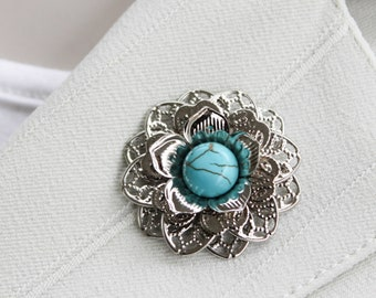 Turquoise Jewelry, Magnet Pin Brooch, Magnetic Lapel Flower for Women, Metal Flower Pins, Unique Gifts for Women, Gift for Mom, Flower Pin