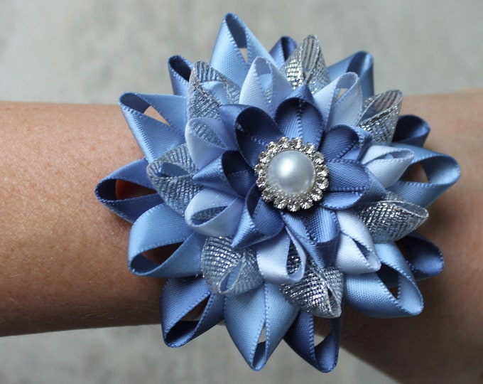 Wrist Corsage and Boutonniere, Bridal Party Flower, Bout, Homecoming, Prom Flowers, Wrist Flowers, Denim Blue, French Blue, Silver, Ice Blue