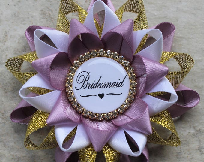 Bridesmaid Gift, Bridesmaid Pin, Bridal Shower Decorations, Thistle, Gold, White Bridal Shower Corsages