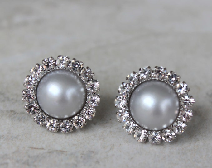 Gray Pearl Earrings Bridesmaid Gift, Crystal and Gray Wedding Jewelry