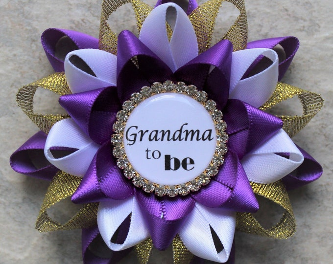 Purple and Gold Baby Shower Corsages, Purple Baby Shower Decorations, Baby Shower Favors, New Mom Gift, Great Grandma to Be Gift, Aunt