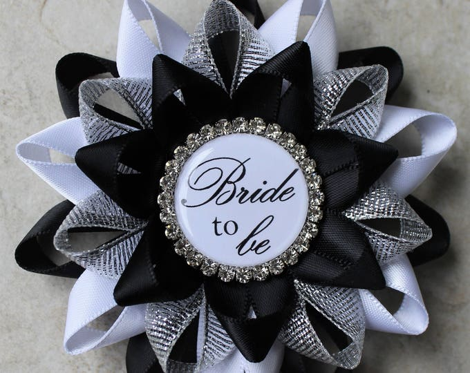 Wedding Shower Gift, Corsage Pin, Ideas for Black and White Bridal Shower Decorations, Bachelorette Party Pins in Black, White, and Silver