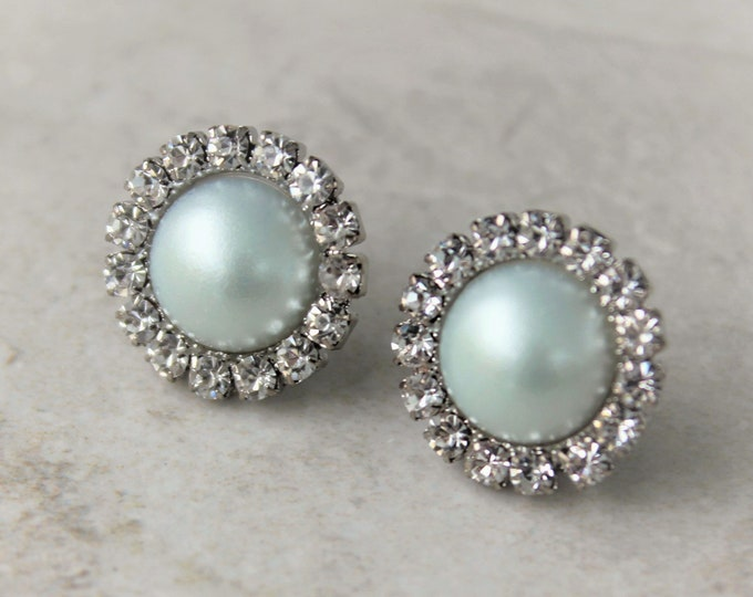 Mint Green Pearl Bridesmaid Earrings