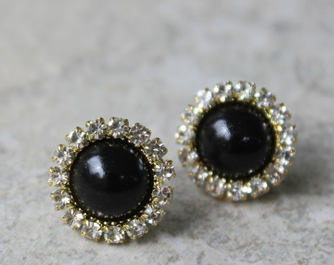 Black Pearl Earrings, Black and Gold Bridesmaid Earrings, Black and Gold Earrings, Gold and Black Jewelry, Black Bridesmaid Earrings