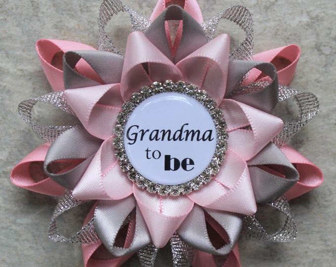 Pink and Gray Baby Shower, Baby Girl Shower Decorations, Baby Shower Pins, Baby Shower Corsage, Grandma to Be, Pink, Silver, Gray, Pale Pink