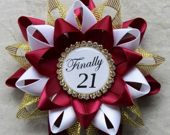Finally 21, 21st Birthday Decorations, 21st Birthday Gift for Her, 21 and Legal, 21 Today Pin, Gift for Birthday Girl, Wine, Gold, White