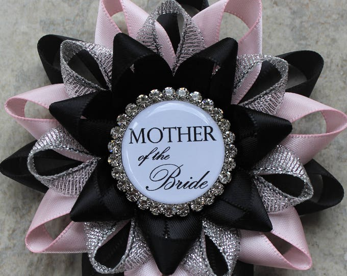 Bridal Shower Decorations, Pink and Black Bridal Shower Corsage Pins, Mother of the Bride Flower, Wedding Corsages, Black, Pale Pink, Silver