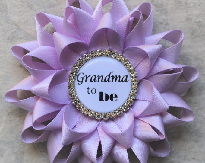 Lavender Baby Shower Decorations, Light Purple Baby Girl Shower, Grandma to Be Pin, Girl Baby Shower Pins, Orchid, Lilac