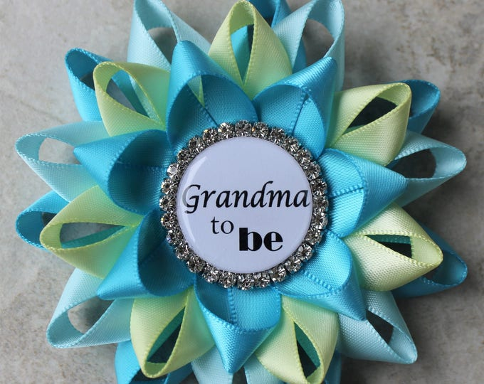 Baby Shower Decorations, Aqua Baby Shower Pins, Baby Shower Decor, New Grandma to be, Mimi, Nonna, Abuela, Turquoise, Aqua Blue, Pale Yellow