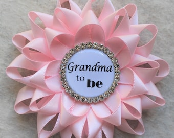 Pink Baby Shower Decorations, Baby Girl Shower Corsages, Girl Baby Shower Pins, New Grandma Gift, Pale Pink, Personalized Pins