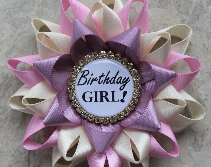 Birthday Party Decorations, Girls Birthday Ribbon, Birthday Girl Pin, Pink and Purple Birthday Pin, Ivory, Bubblegum, Ivory, Thistle, Gold