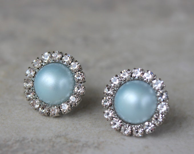 Aqua Blue Pearl Bridesmaid Earrings