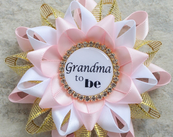 Pink and Gold Baby Shower Pin, Pink and Gold Baby Shower Decorations, Baby Shower Pins, Baby Shower Corsage, Pale Pink, Metallic Gold, White