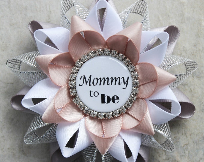 Personalized Baby Shower Pins, Baby Shower Decorations, Gray and Blush Baby Shower Corsages, Mommy to be Pins, Gray, Silver, White, Nude