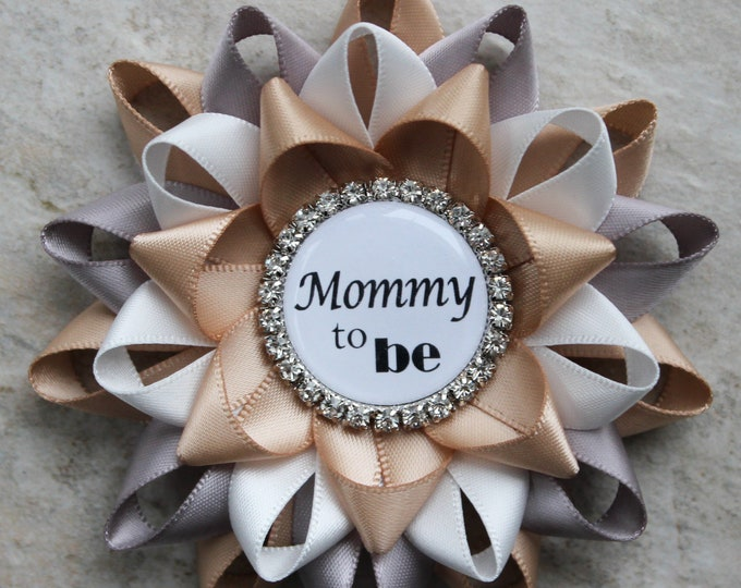 Gender Neutral Rustic Baby Shower Decorations, Rustic Themed Baby Shower Pins, Champagne Baby Shower Corsages, Champagne, Gray, Off White