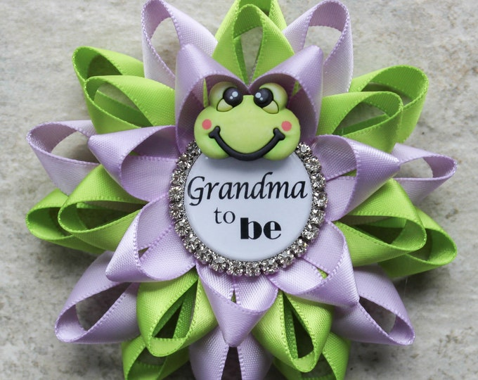 Frog Baby Shower Pins, Frog Baby Shower Decorations, Personalized Pins, Grandma to be, Green and Lavender Baby Shower, Apple Green, Orchid