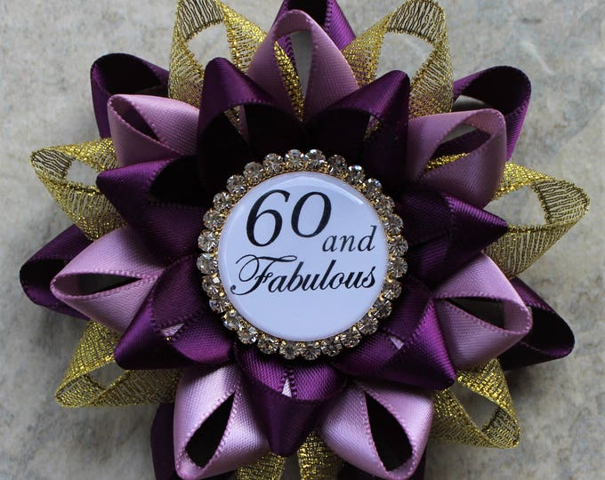 60th Birthday Gifts for Women, 60th Birthday Pin, 60th Birthday Gift for Mom, Sixtieth Birthday Party Decorations, Deep Purple,Gold, Thistle